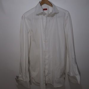 White ISAIA Napoli Men's Dress Shirt Sz 47